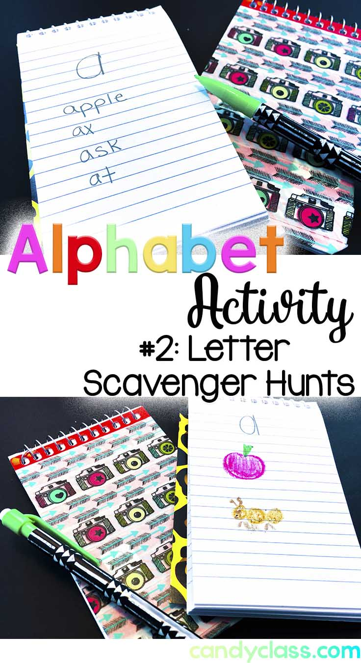 Students do a scavenger hunt for alphabet letters.