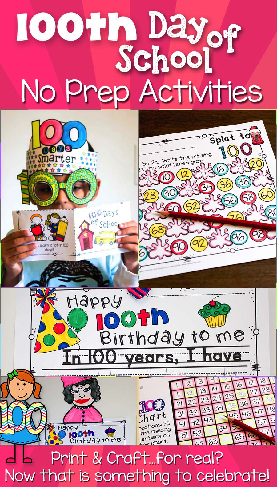 Celebrate the 100th Day of School with a Crown, Glasses, and Fun No Prep Activities