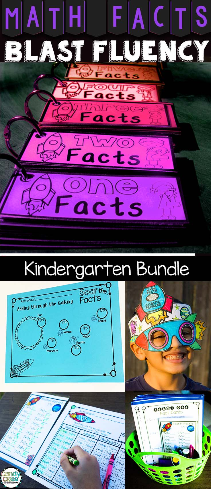 This set covers kindergarten math facts fluency for addition and subtraction facts within 5 and 10