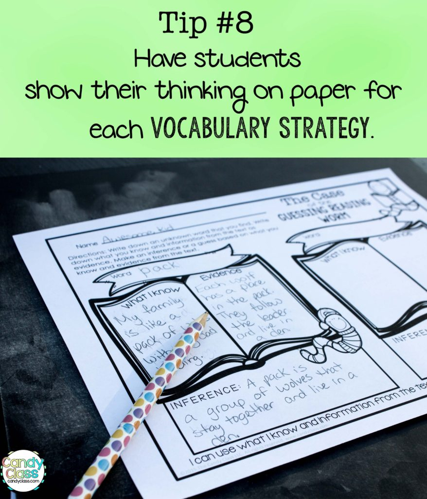 Vocabulary Tip to Show Thinking on Paper