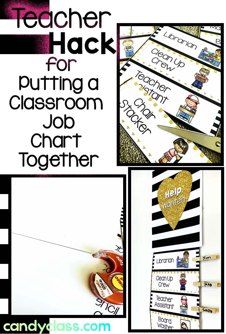 teacher hack for putting a classroom job chart together
