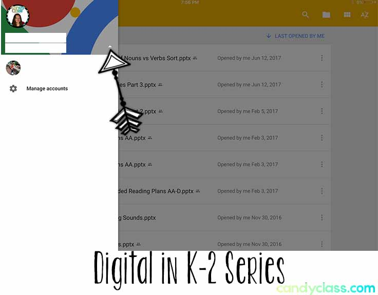 Example of selecting the triangle in Google Slides