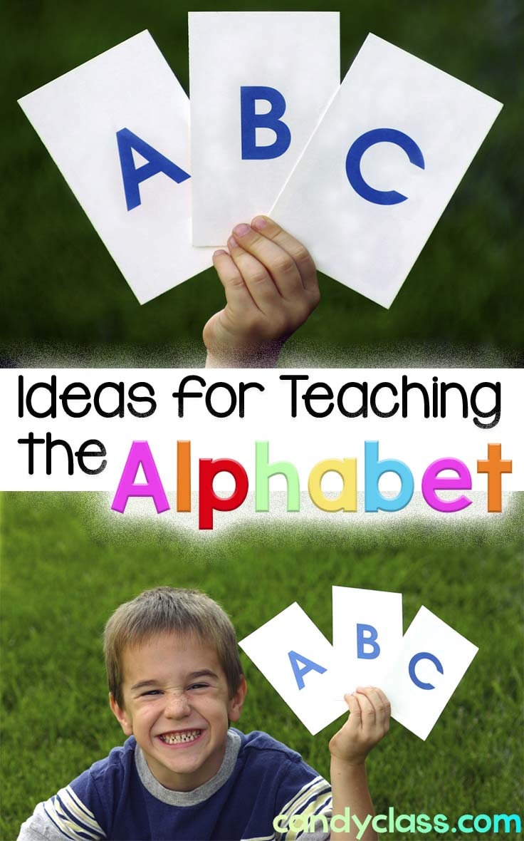 Child with alphabet cards