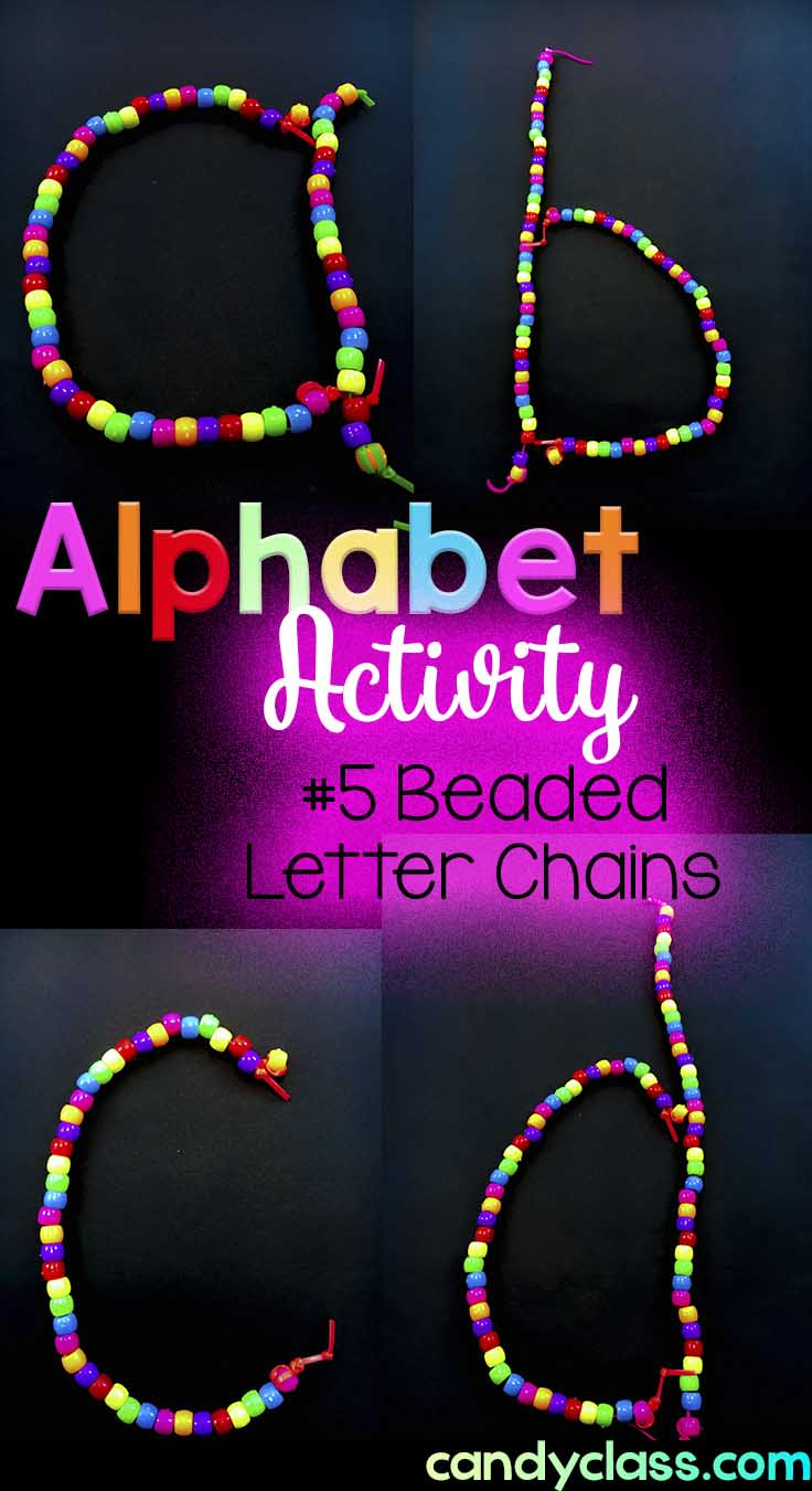 Students form alphabet letters with bead chains