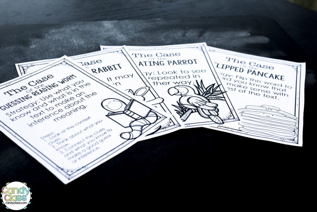Vocabulary Strategies Cards in Black and White