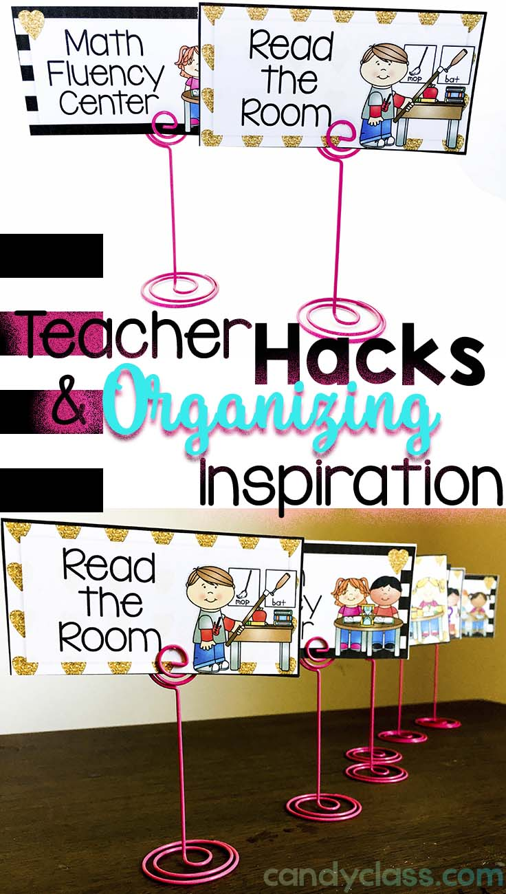 Teacher Hacks and Organizing Inspiration with Placement Holders for Center Signs