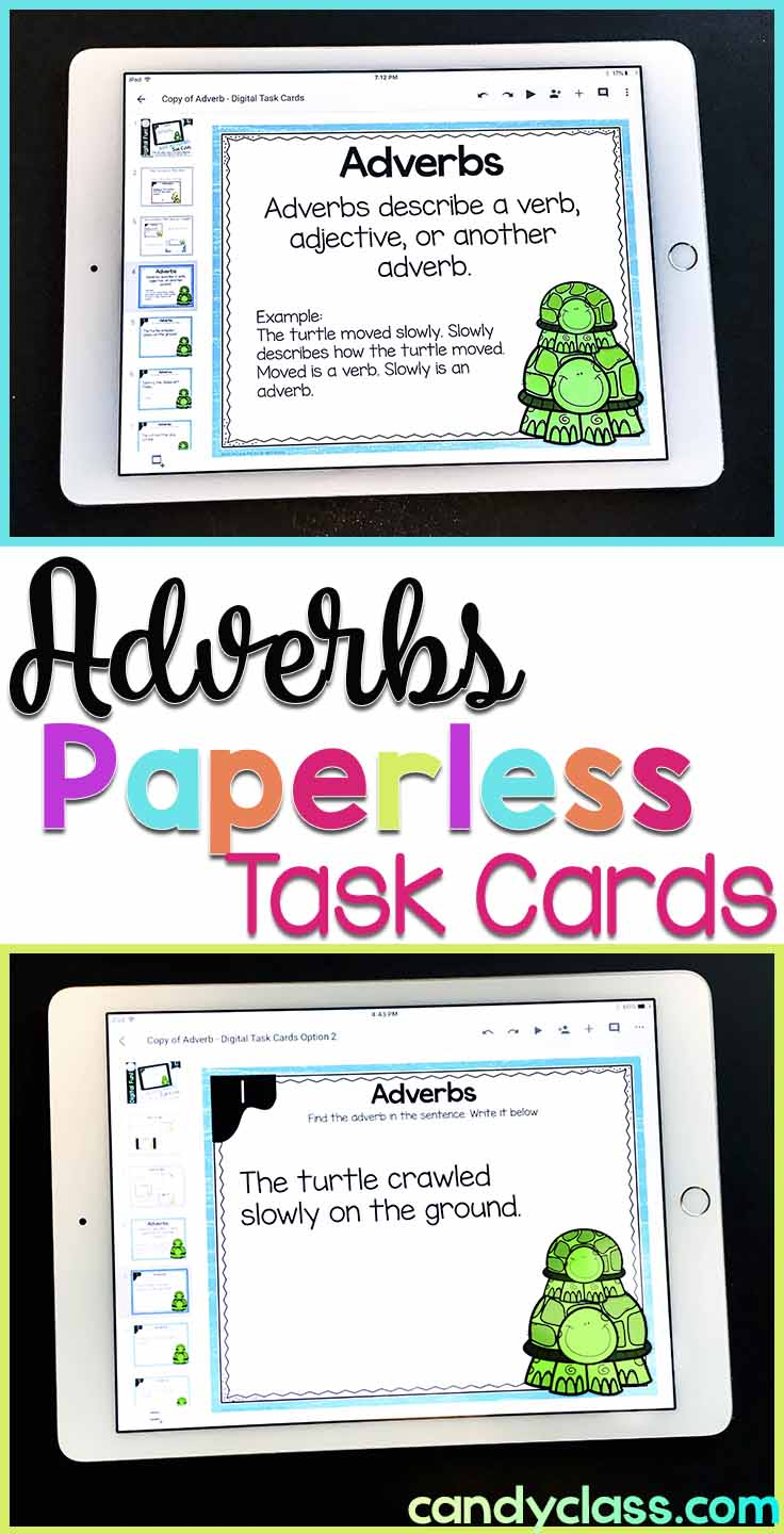 Adverb Digital Task Cards for Google Classroom Use
