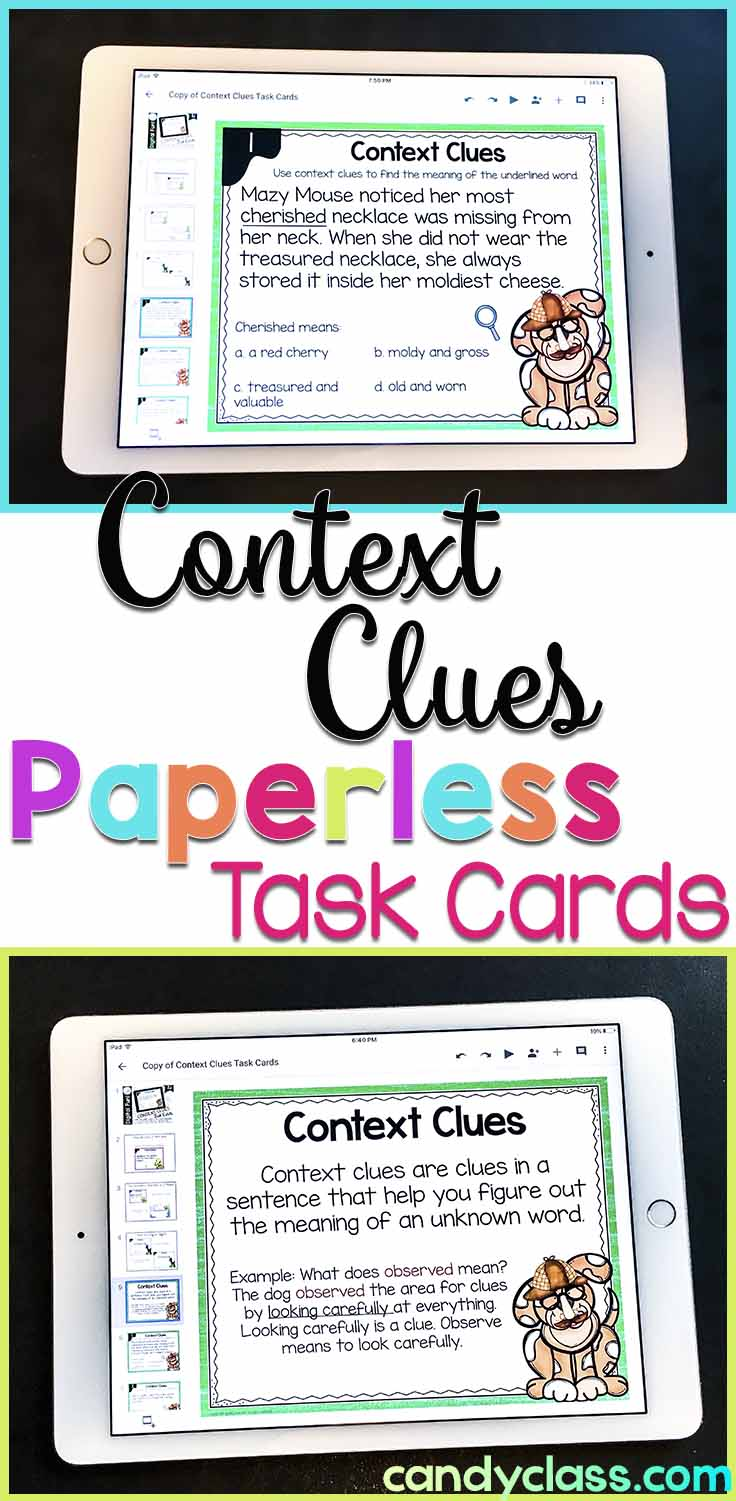 context clues for Google Classroom digital task cards