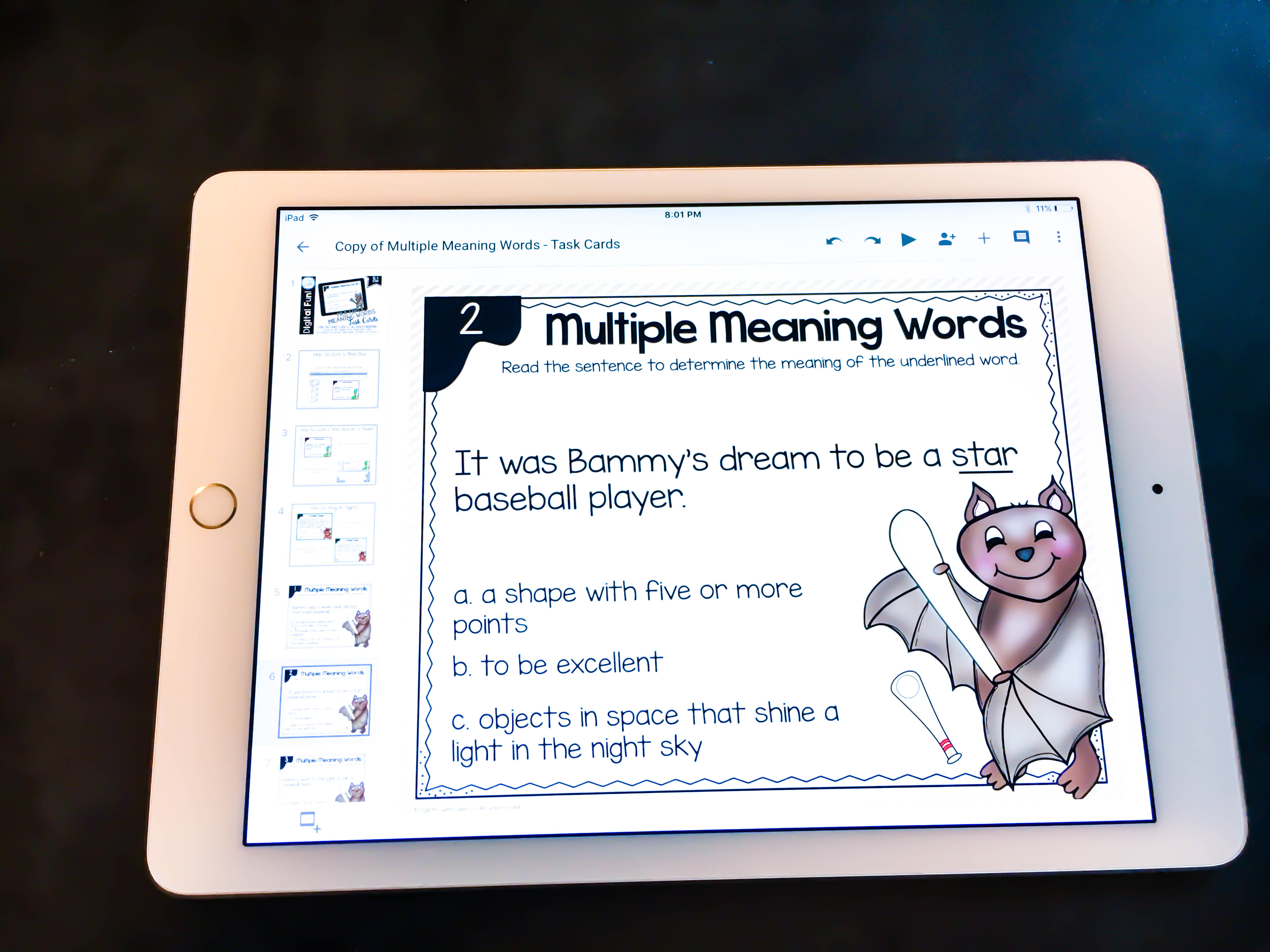 multiple meaning words homophones digital task cards