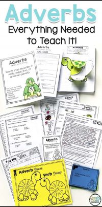 This show a picture of the adverb bundle with anchor charts, mini-lesson, task cards, interactive notebook entry, worksheets, game, and assessments.