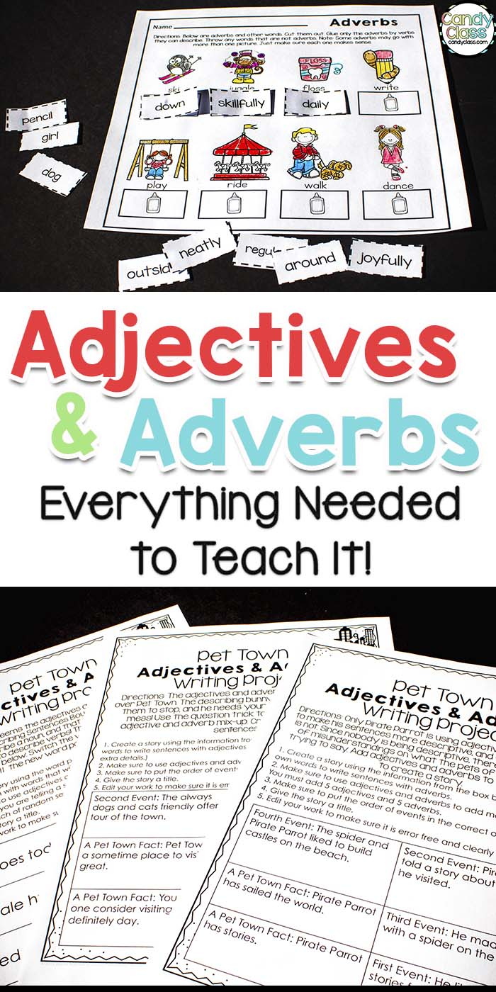 This shows examples of the adjectives and adverbs teaching resource bundle.