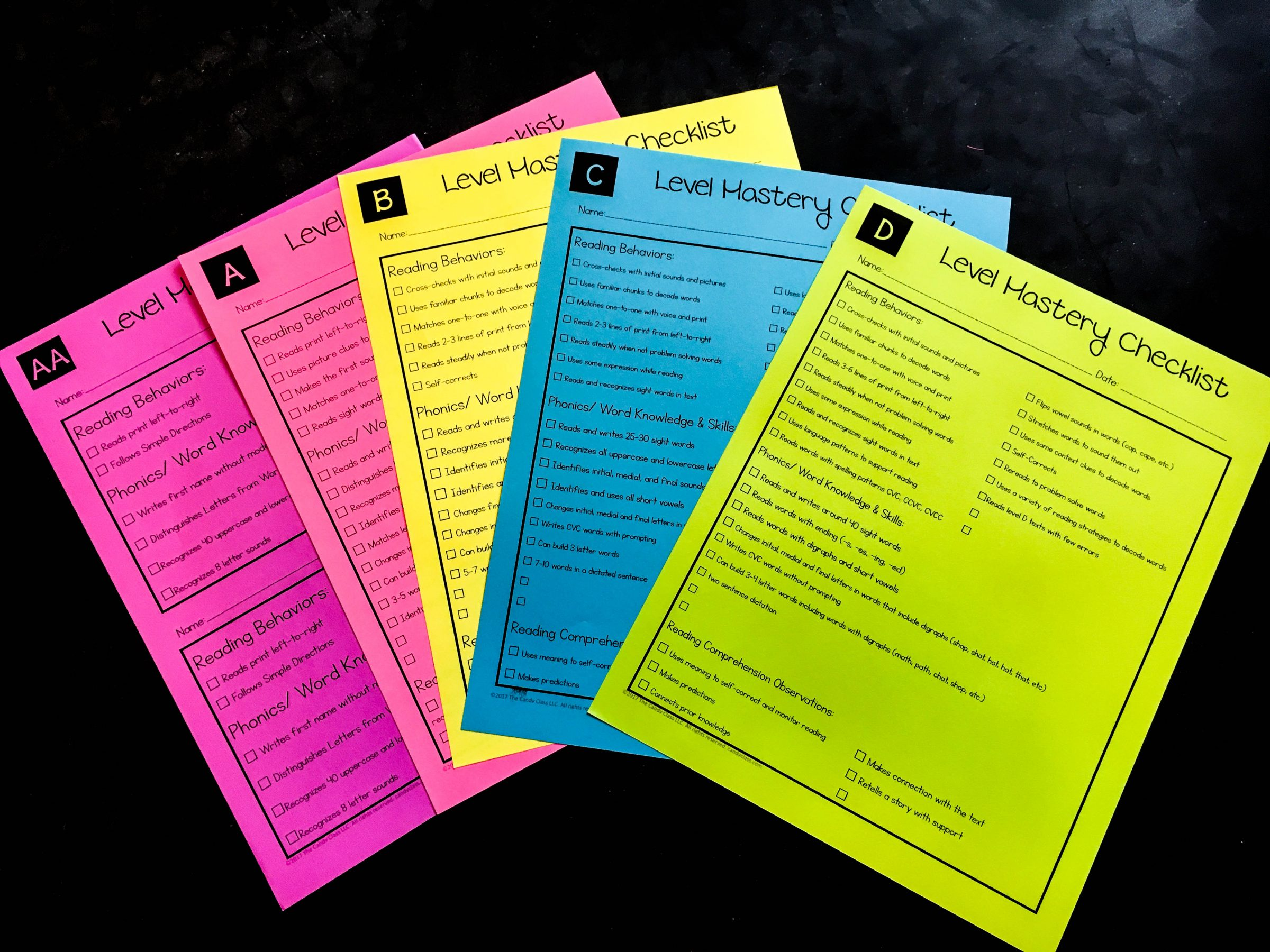 Guided Reading Level Mastery Checklist