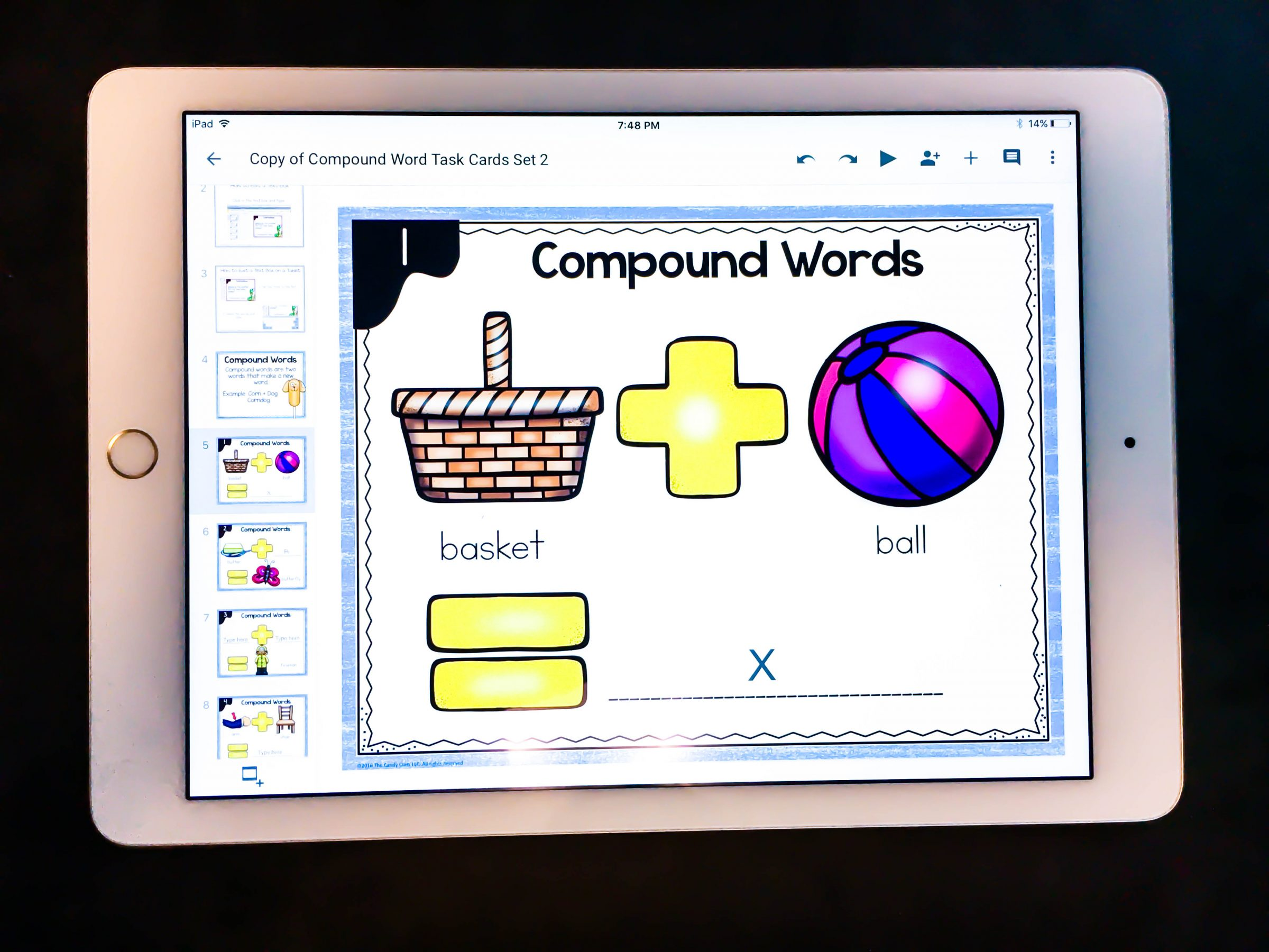 compound words digital task cards for Google Classroom