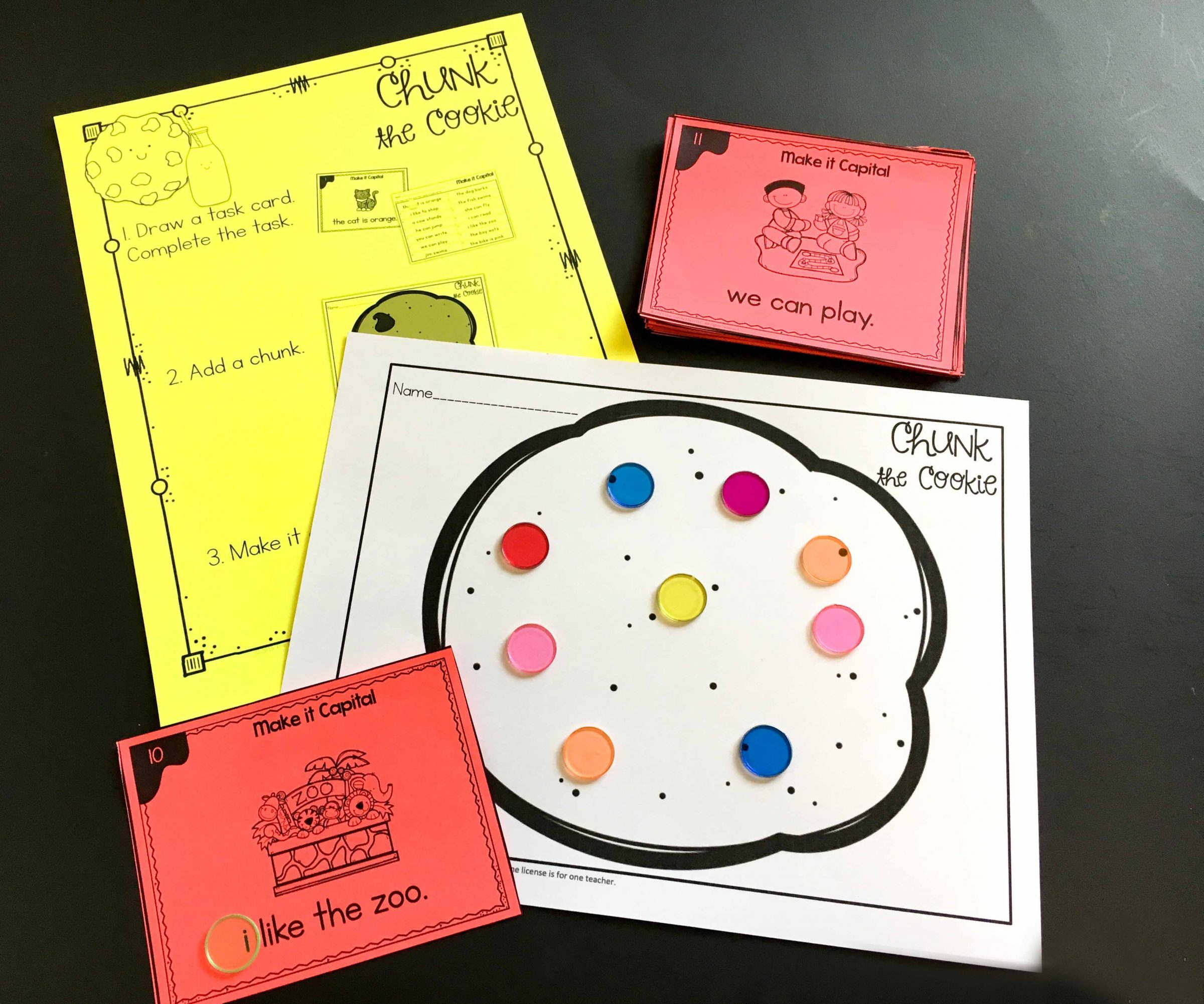 chunk the cookie task card game