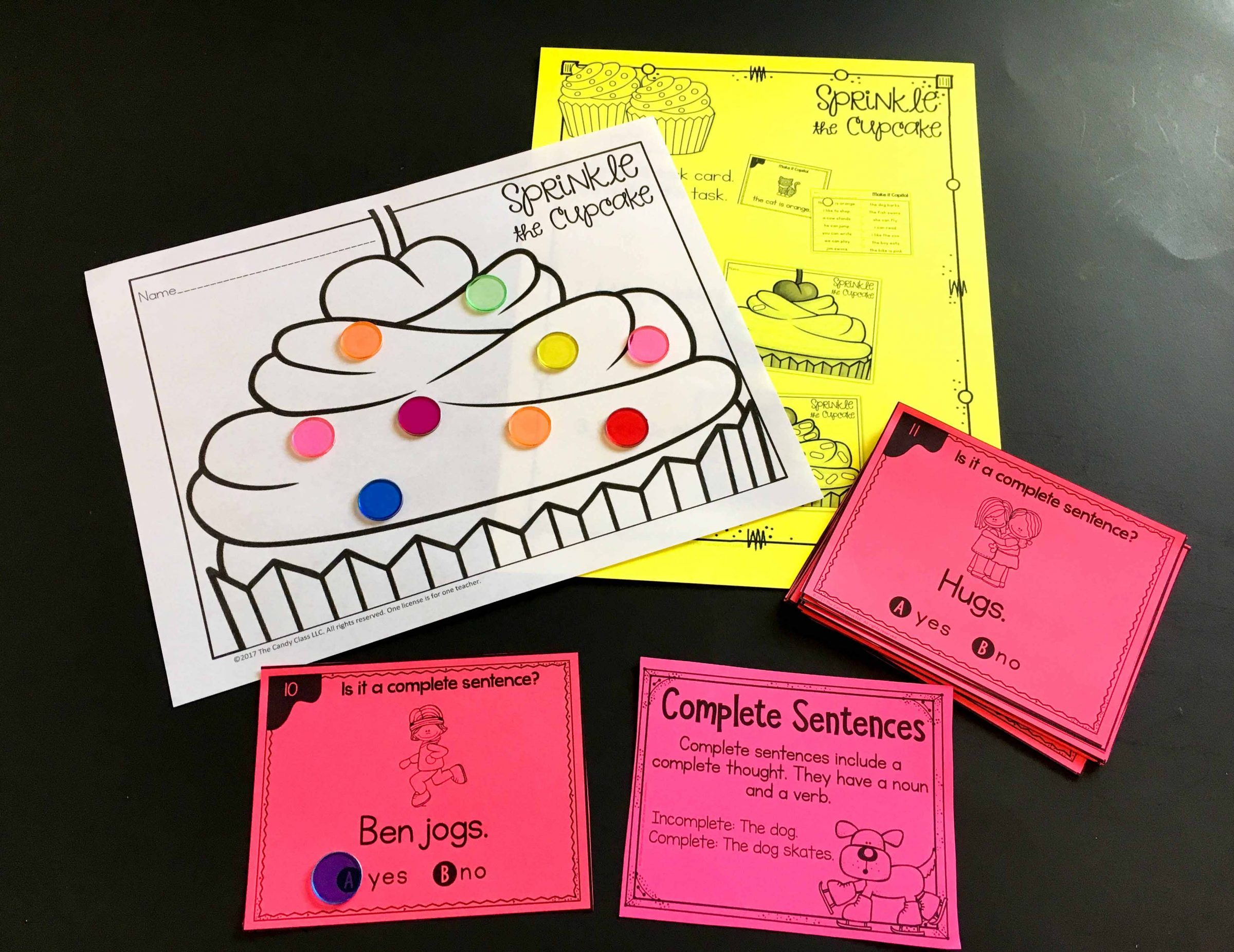 sprinkle the cupcake task card game