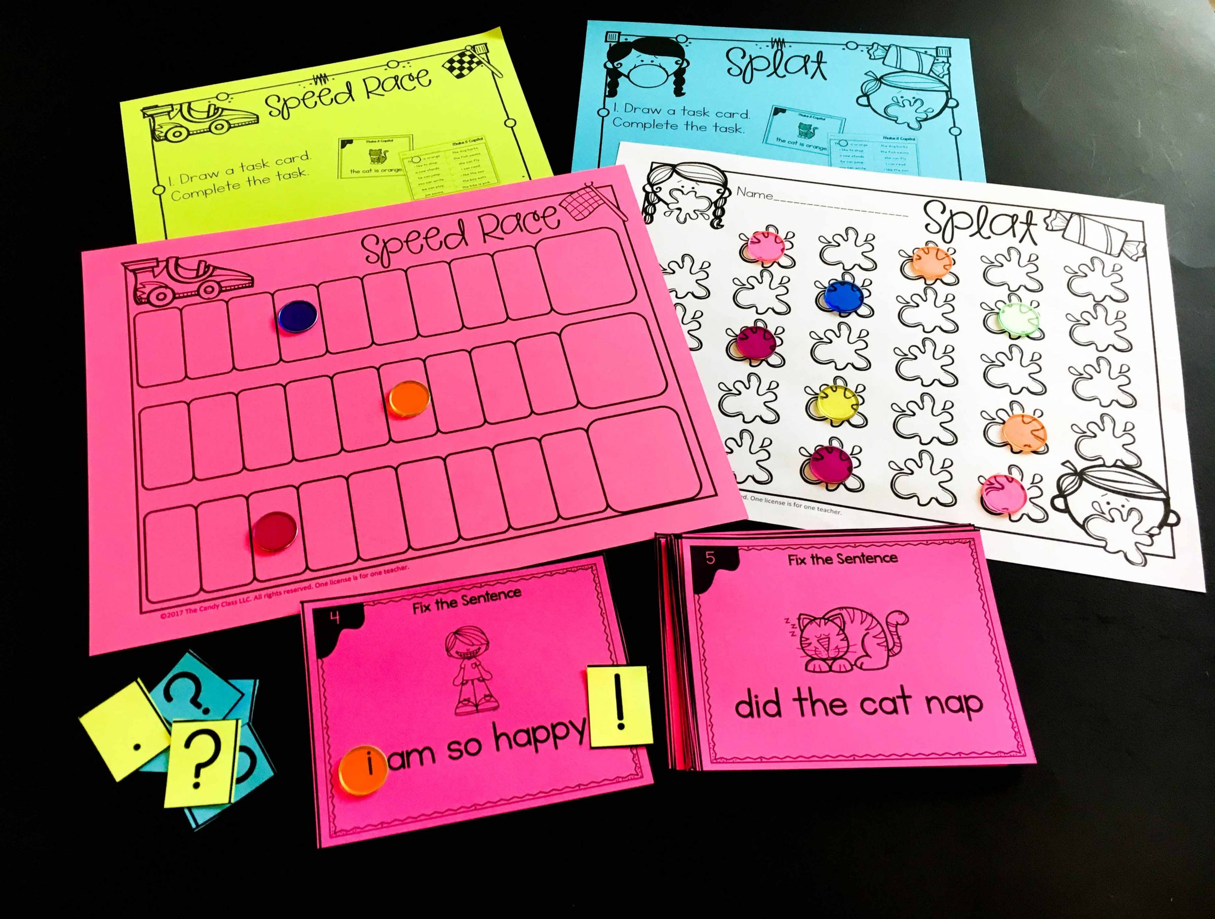 grammar task cards with games