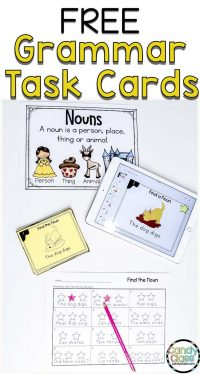free noun task cards for grammar activities