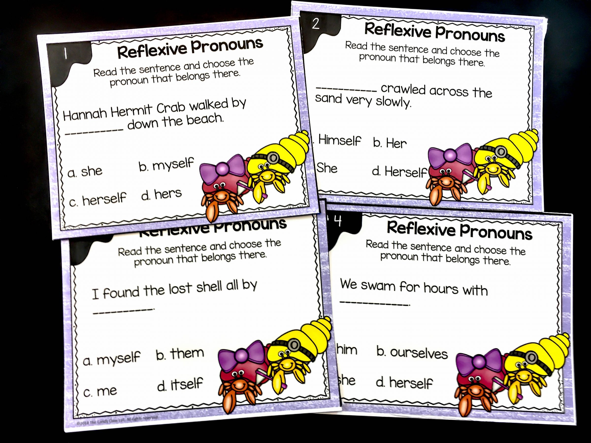 close up of reflexive pronoun task cards