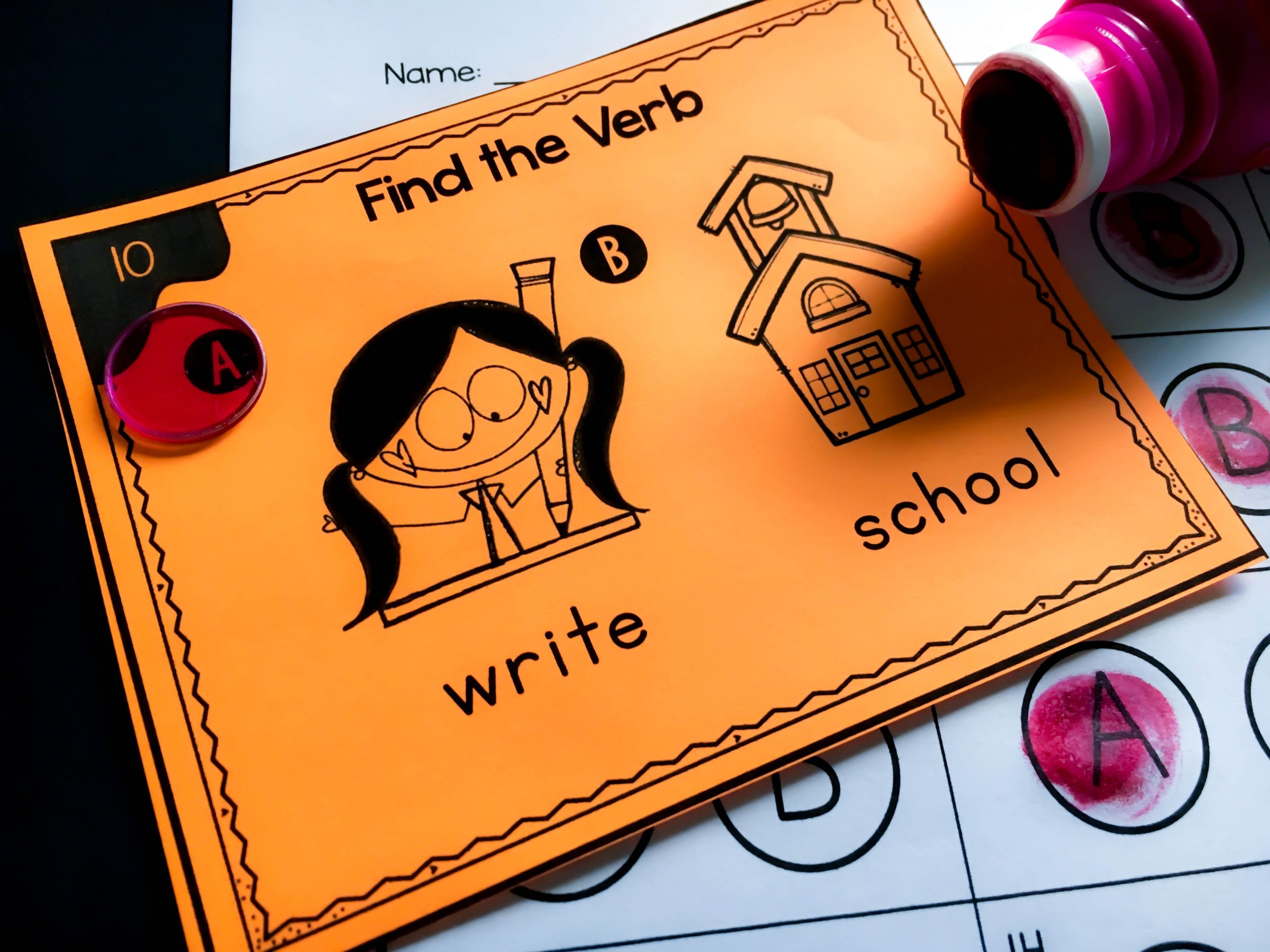 verb task cards for kindergarten