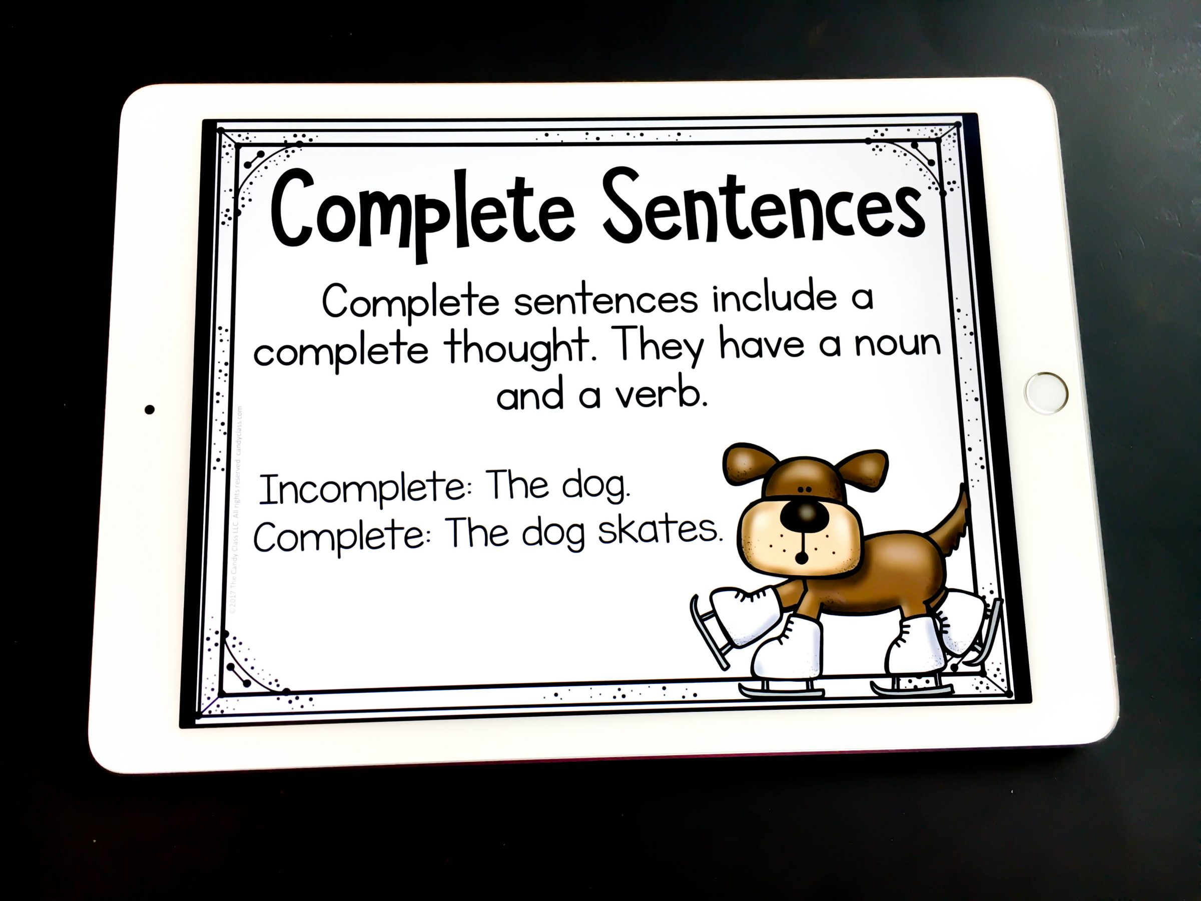 complete sentences digital task cards