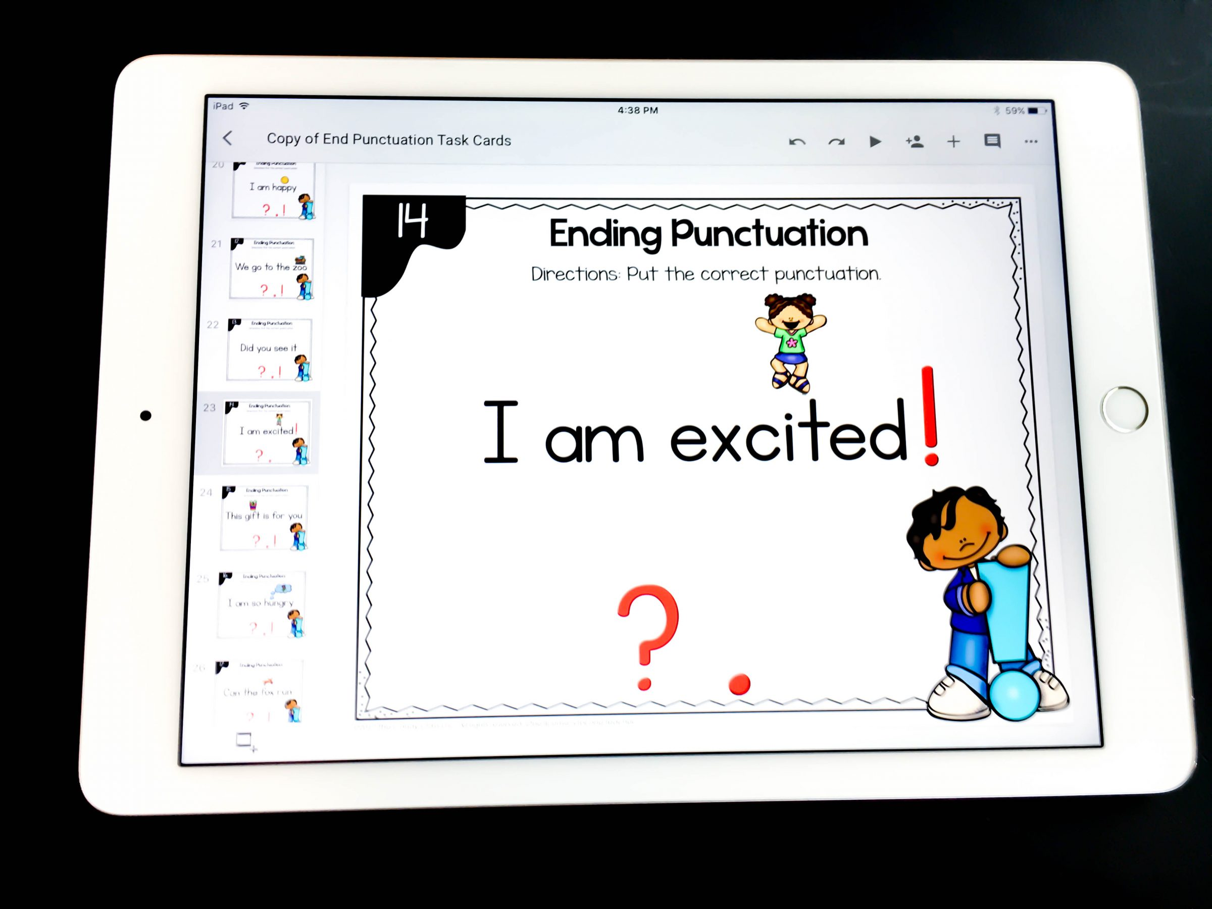ending punctuation digital task cards